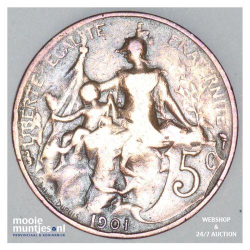 5 centimes - France 1901 (KM 842) (kant A)