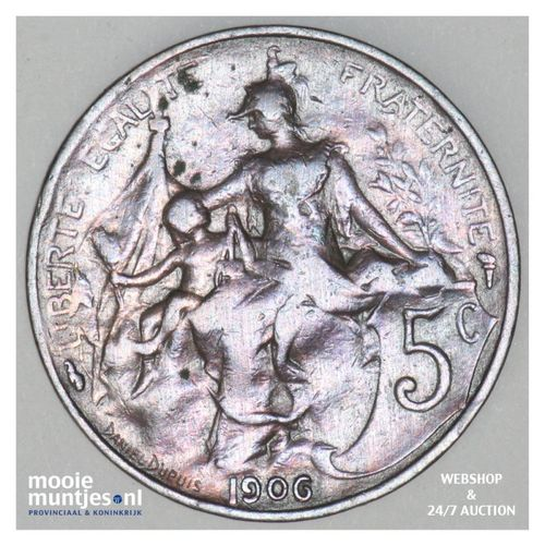5 centimes - France 1906 (KM 842) (kant A)