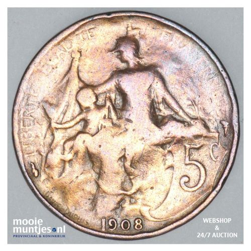 5 centimes - France 1908 (KM 842) (kant A)