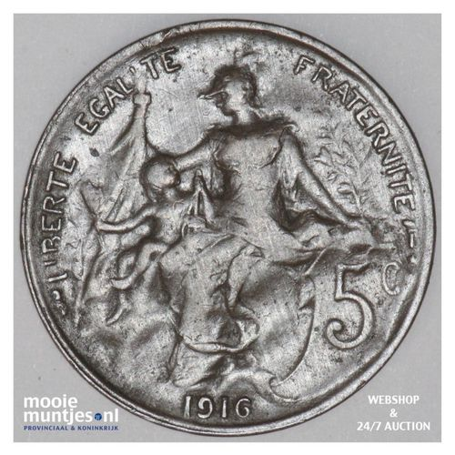 5 centimes - France 1916 (KM 842) (kant A)
