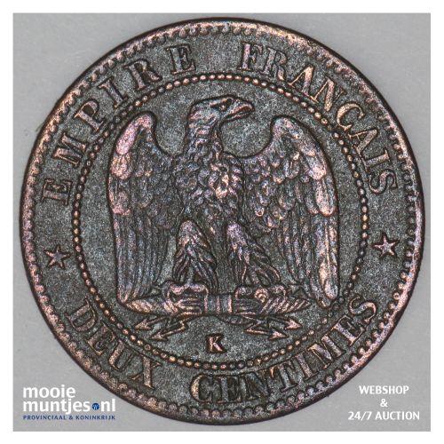 2 centimes - France 1861 K (Bordeaux) (KM 796.6) (kant B)