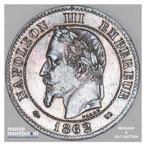 2 centimes - France 1862 K (Bordeaux) (KM 796.6) (kant A)