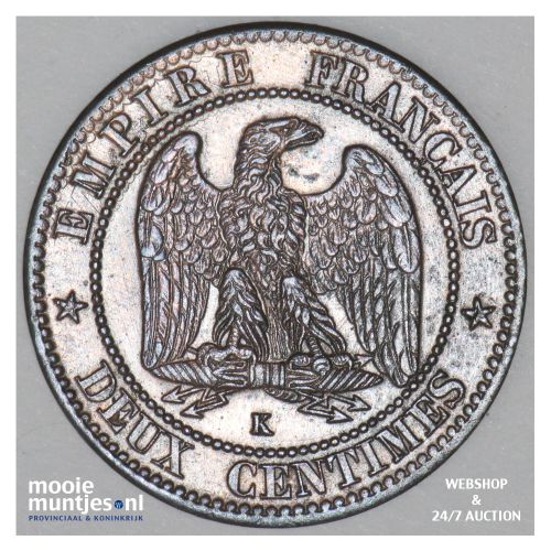 2 centimes - France 1862 K (Bordeaux) (KM 796.6) (kant B)