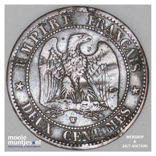 2 centimes - France 1854 W (Lille) (KM 776.7) (kant B)