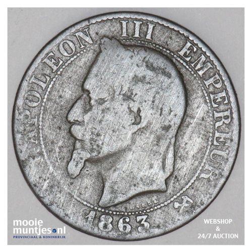 5 centimes - France 1863 K (Bordeaux) (KM 797.3) (kant A)
