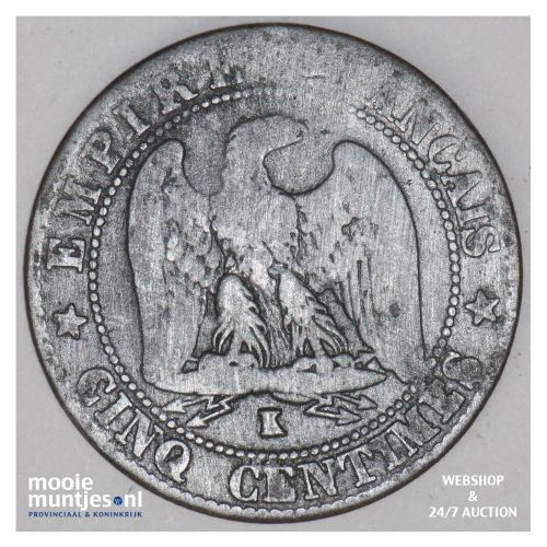 5 centimes - France 1863 K (Bordeaux) (KM 797.3) (kant B)