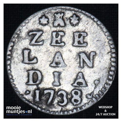 Zeeland - Dubbele wapenstuiver - 1738 (kant A)