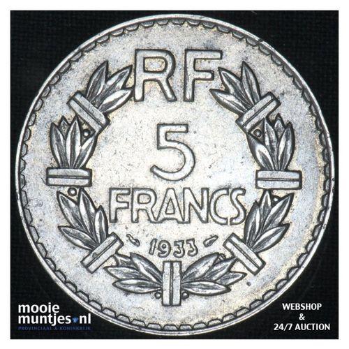 5 francs - France 1933 (a) (KM 888) (kant A)