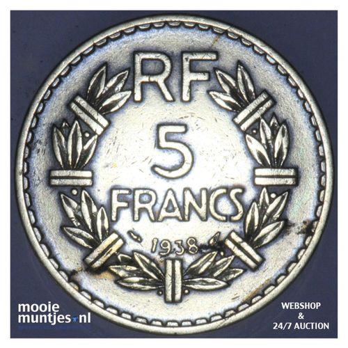 5 francs - France 1938 (a) (KM 888a.1) (kant A)