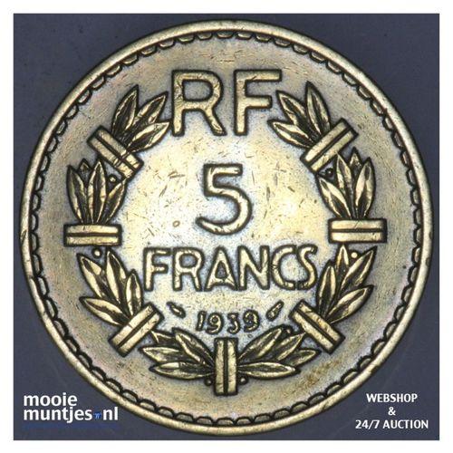 5 francs - France 1939 (a) (KM 888a.1) (kant A)