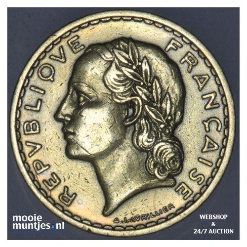 5 francs - France 1939 (a) (KM 888a.1) (kant B)
