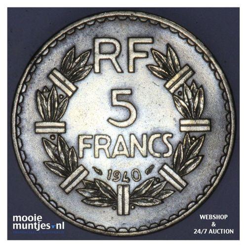 5 francs - France 1940 (a) (KM 888a.1) (kant A)