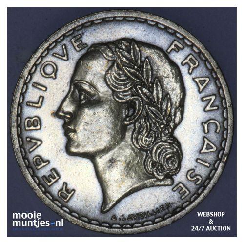 5 francs - France 1940 (a) (KM 888a.1) (kant B)