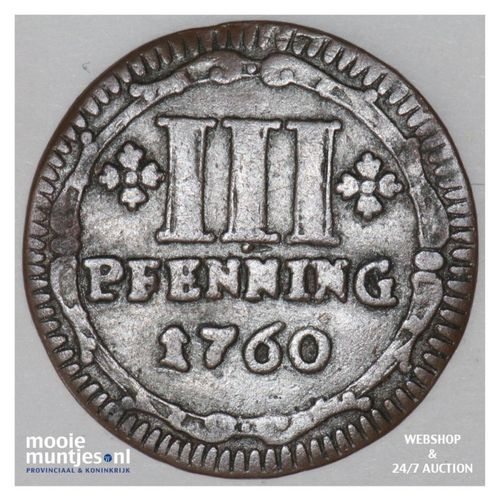 3 pfennig - (cathedral chapter) - German States/Munster 1760 (KM 430) (kant A)