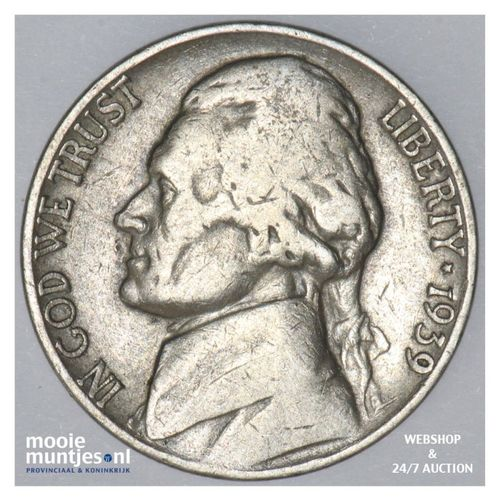 5 cents - jefferson nickel -  - United States of America 1939 (KM 192) (kant A)