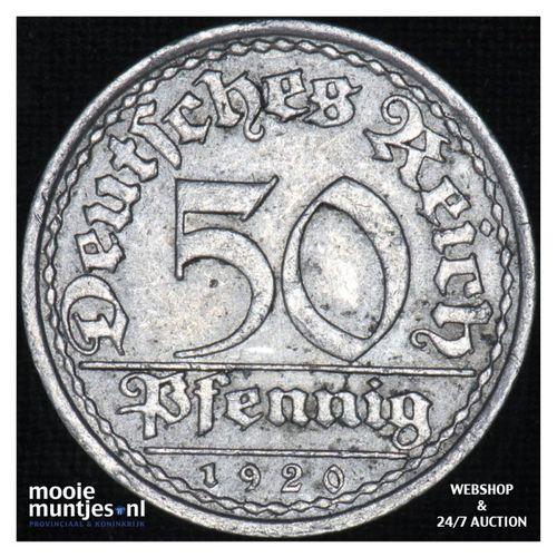 50 pfennig - Weimar Republic 1920 A (KM 27) (kant A)