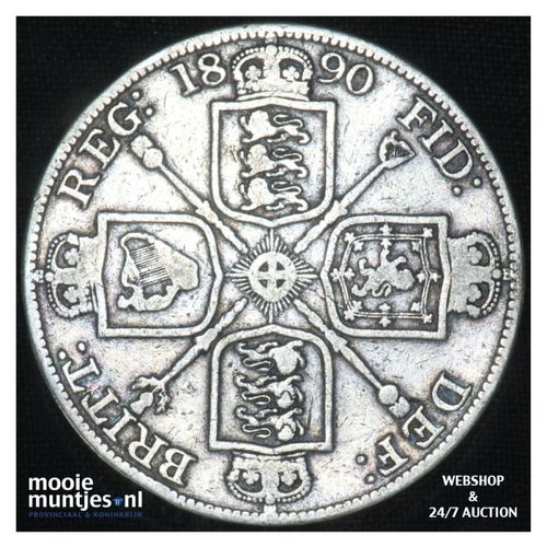 double florin - Great Britain 1890 (KM 763) (kant A)