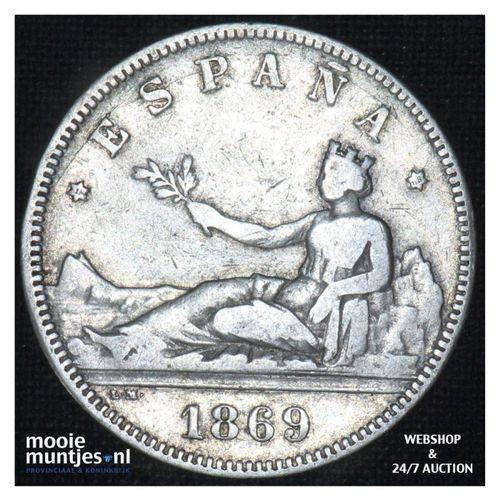 2 pesetas - third decimal coinage -  - Spain 1869 (68) SN-M (KM 654) (kant A)