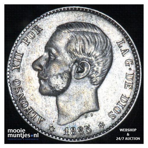 peseta - third decimal coinage -  - Spain 1885 (86) MS-M (KM 686) (kant A)