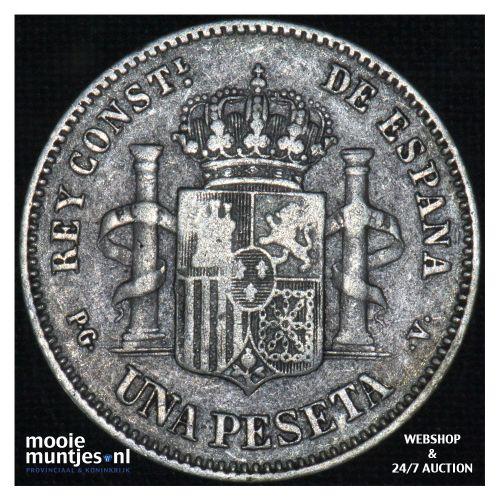 peseta - third decimal coinage -  - Spain 1894 (94) PG-V (KM 702) (kant B)