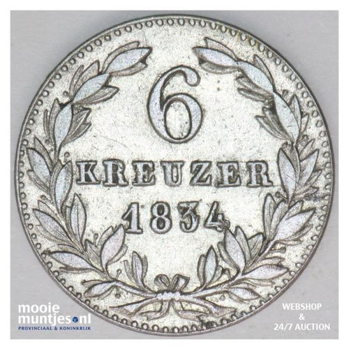 6 kreuzer - united Nassau - German States/Nassau 1834 (KM 53) (kant A)