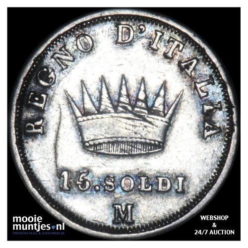 15 soldi - Italian States/Kingdom of Napoleon 1808 M (KM C# 7) (kant B)