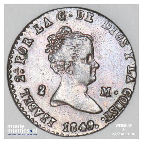 2 maravedis - Spain 1849 (KM 532.4) (kant A)