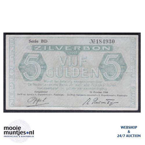 5 gulden - 1944 (Mev. 22-1b / AV 17) (kant A)