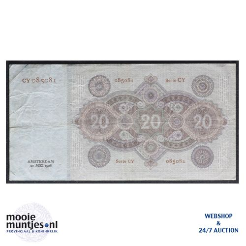 20 gulden - 1926 (Mev. 57-1a / AV 40) (kant B)