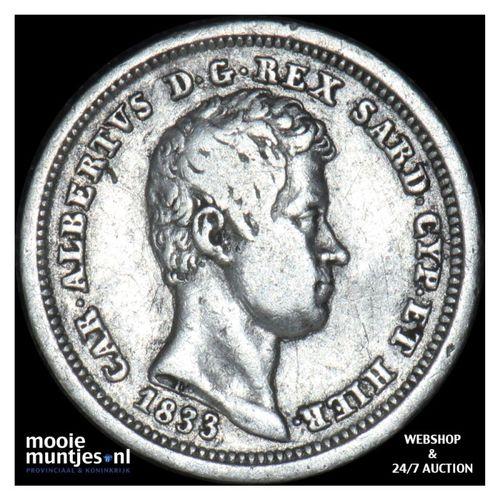 25 centesimi - mainland reform coinage - Italian States/Sardinia 1833 (KM 132.1)