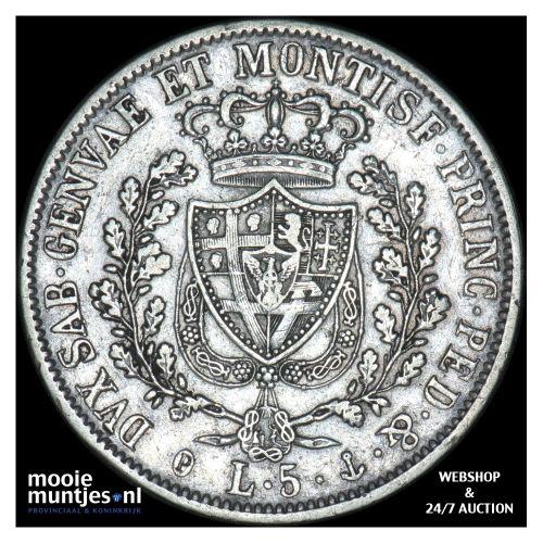 5 lire - mainland reform coinage - Italian States/Sardinia 1829 (KM 116.1) (kant