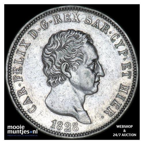 5 lire - mainland reform coinage - Italian States/Sardinia 1828 (KM 116.2) (kant