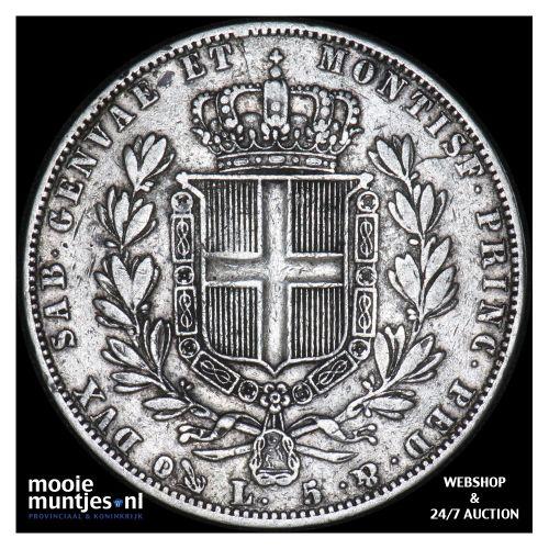 5 lire - mainland reform coinage - Italian States/Sardinia 1843 (KM 130.2) (kant