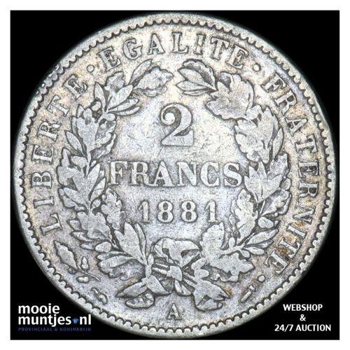 2 francs - France 1881 A (Paris) (KM 817.1) (kant A)