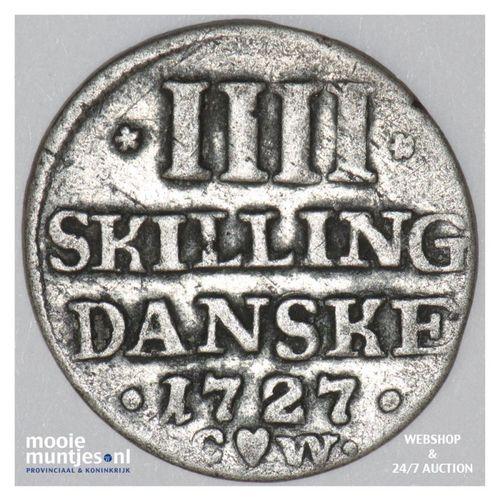 4 skilling - Denmark 1727 (KM 526) (kant A)