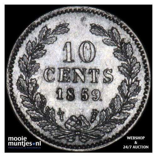 10 cent - Willem III - 1859 (kant A)