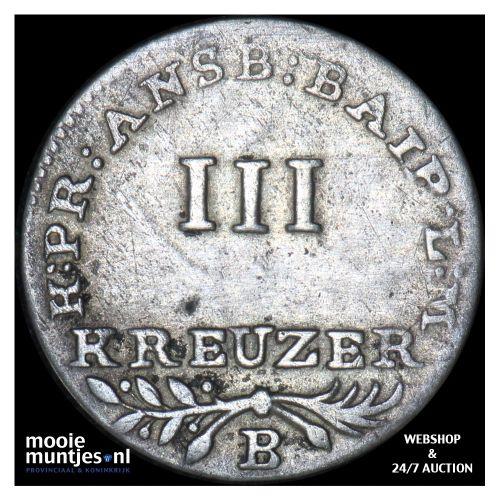 3 kreuzer - German States/Brandenburg-Ansbach-Bayreuth 1802 (KM 15) (kant B)