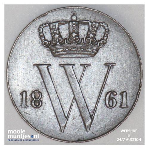 ½ cent - Willem III - 1861 (kant A)