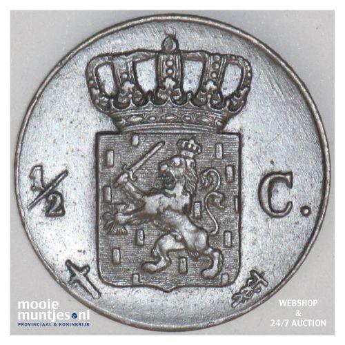 ½ cent - Willem III - 1861 (kant B)