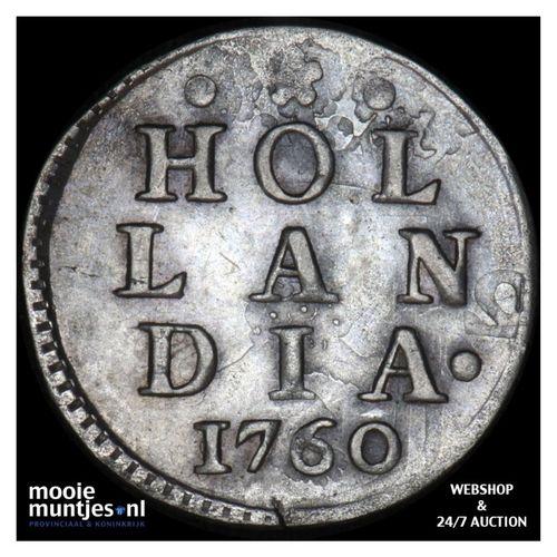 Holland - Dubbele wapenstuiver - 1760 (kant A)
