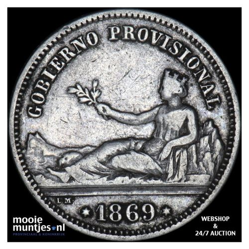 peseta - third decimal coinage - Spain 1869 SN-M (KM 652) (kant A)