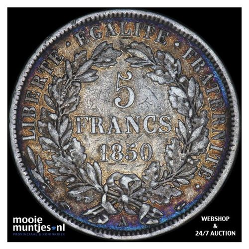 5 francs - France 1850 A (Paris) (KM 761.1) (kant A)