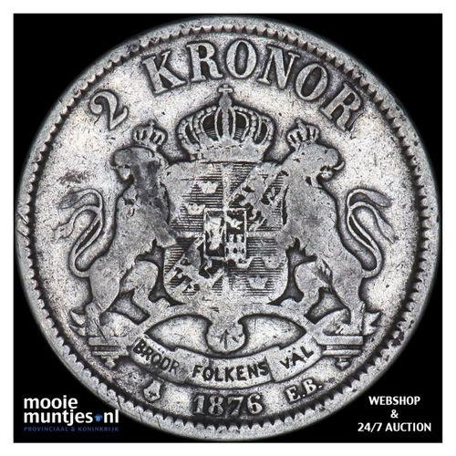 2 kronor - Sweden 1876 (KM 742) (kant A)