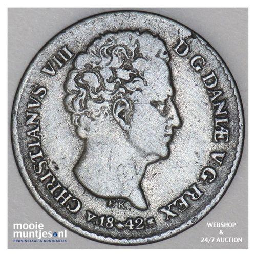 4 rigsbankskilling - Denmark 1842 (KM 721.2) (kant A)