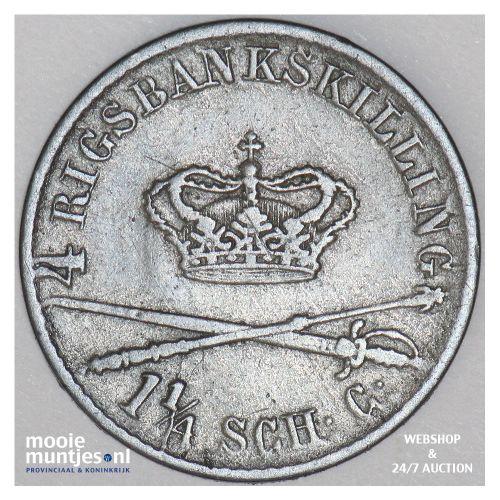 4 rigsbankskilling - Denmark 1842 (KM 721.2) (kant B)
