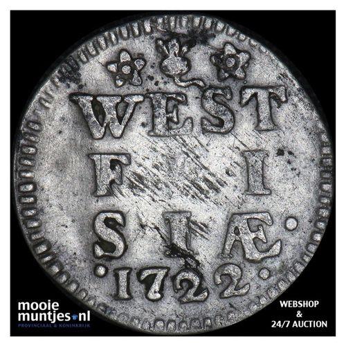 West-Friesland - Dubbele wapenstuiver - 1722 (kant A)