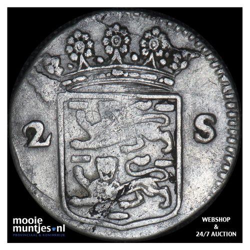 West-Friesland - Dubbele wapenstuiver - 1722 (kant B)
