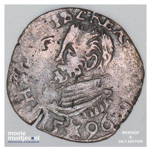 Brabant-Maastricht - Achtste stuiver of duit van 6 mijten - 1596 (kant A)