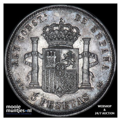 5 pesetas - third decimal coinage - Spain 1890 (90) MP-M (KM 689) (kant B)