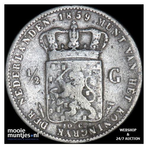 ½ gulden - Willem III - 1859 (kant A)